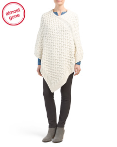 Made In Italy Basket Weave Poncho