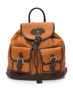 Made In Italy Leather Buckle Backpack