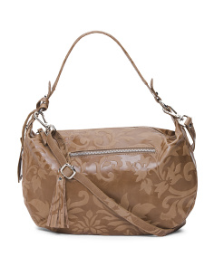 Made In Italy Floral Leather Hobo