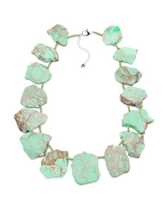 Sterling Silver Green Jasper Slab Necklace