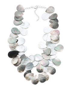 Sterling Silver Grey Mother Of Pearl Double Necklace