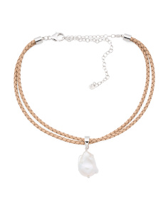 Sterling Silver Pearl Beige Leather Cord Choker Necklace