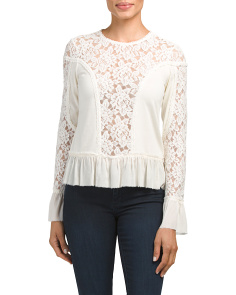Mixed Media Lace Blouse