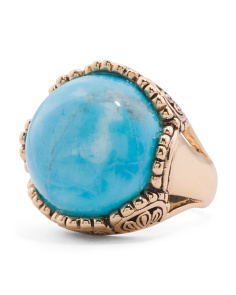 Made In Thailand Turquoise Howlite Bronze Ring