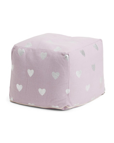 Kids Metallic Heart Pouf