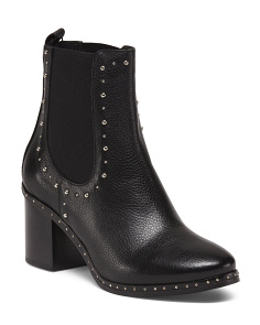 Made In Italy Studded Leather Booties
