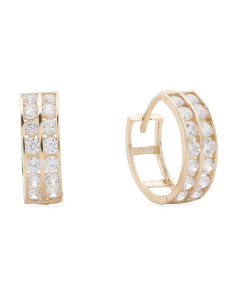 Made In Usa 14k Gold 2 Row Cubic Zirconia Huggie Hoop Earrings