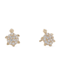Made In USA 14k Gold Cubic Zirconia Turtle Stud Earrings
