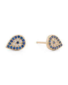 Made In USA Gold Plated Sterling Silver Cz Evil Eye Earrings