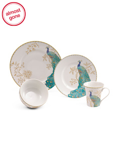 16pc Peacock Dinnerware Set With 4 Bonus Mugs
