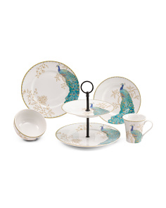17pc Porcelain Peacock Garden Dinnerware Set