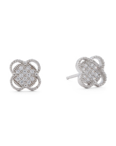 Made In USA Sterling Silver Pave CZ Quatrefoil Stud Earrings
