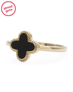 Made In USA 14k Gold And Onyx Quatrefoil Ring