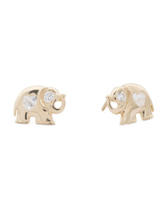 Kids' Made In USA 14k Gold Cubic Zirconia Elephant Stud Earrings