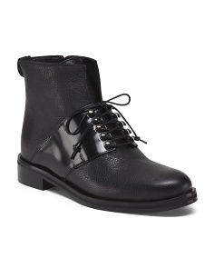 Made In Italy Mid Strap Leather Booties