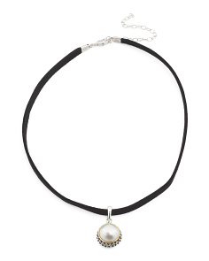 Made In Thailand Sterling Silver Mabe Pearl Choker Necklace