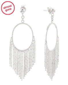 Made In Thailand Sterling Silver Open Circle Fringe Earrings