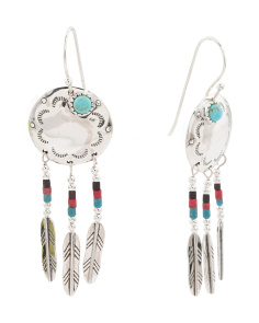 Sterling Silver Turquoise And Coral Multi Feather Earrings