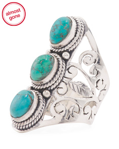 Made In India Sterling Silver Triple Gemstone Knuckle Ring