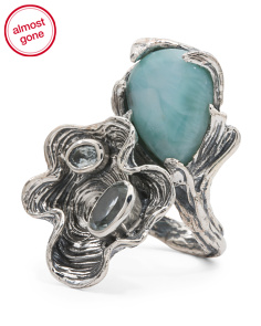 Made In India Sterling Silver Multi Gemstone Ruffle Ring