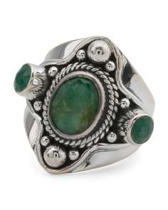 Made In India Sterling Silver Gemstone Cluster Ring