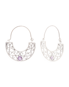 Made In India Sterling Silver Gemstone Filigree Earrings
