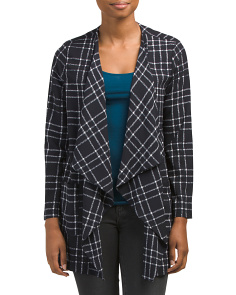 Juniors Made In USA Plaid Drape Jacket
