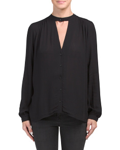 Juniors Gigi Neck Woven Top
