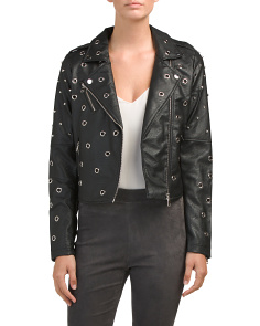 Juniors Grommet And Stud Biker Jacket