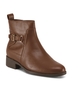 Buckle Waterproof Leather Booties