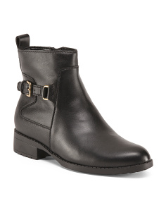 Side Buckle Leather Booties