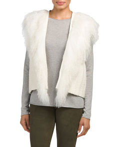Shearling Fringe Distressed Vest