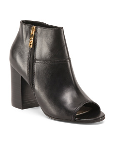 Side Zip Peep Toe Leather Booties