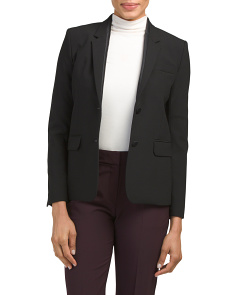 Seamed Lapel Wool Blend Blazer