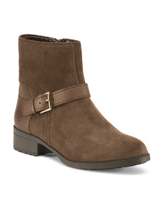 Side Buckle Suede Booties
