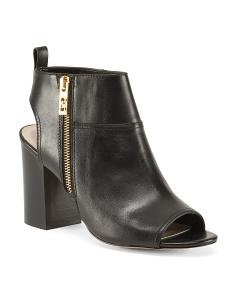 Peep Toe Leather Booties With Side Zip