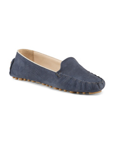 Nubuck Leather Driver Flats