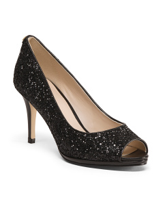 Sequin Peep Toe Leather Pumps