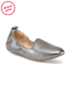 Flat Leather Ballet Loafers
