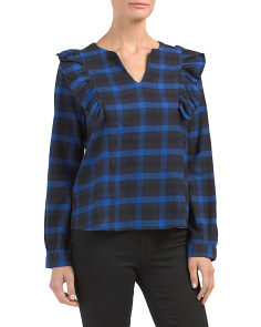 Long Sleeve Ruffle Plaid Blouse