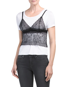 Juniors Lace Slip With T Shirt