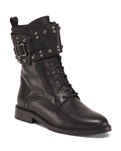 Made In Italy Studded Leather Combat Boots