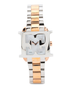 Women's Swiss Made Estelle Logo Case Two Tone Bracelet Watch