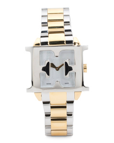 Women's Swiss Made Estelle Two Tone Logo Case Bracelet Watch