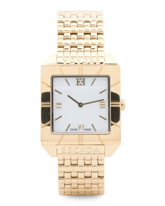 Women's Swiss Made Megan Square Dial Bracelet Watch