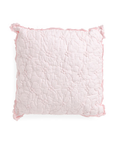 Kids 18x18 Floral Pillow With Ruffle