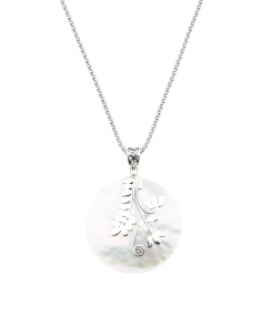 Made In Bali Sterling Silver Mother Of Pearl Leaves Necklace