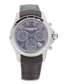 Men's Swiss Made Automatic Chronograph Alligator Strap Watch