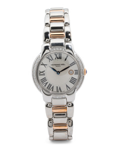 Women's Swiss Made Jasmine Diamond Bezel Two Tone Watch