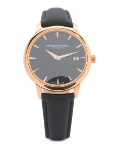 Women's Swiss Made Toccata Leather Strap Watch